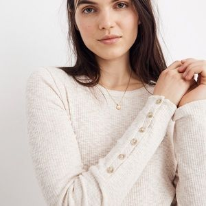 Madewell Button Sleeve Tee in Antique Cream